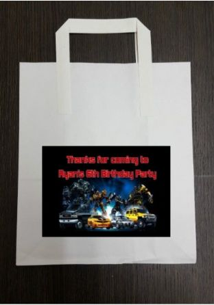 4 x Transformers Birthday Party Bags with Personalised Sticker